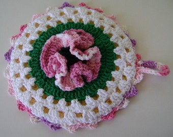 Crocheted Hot Mat Trivet Pot Holder Pink Poppy 100% Cotton Yarn Double Thickness