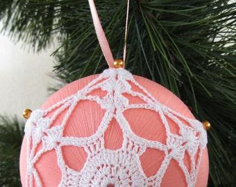 "Peach Satin ""Saturn"" Christmas Ornament, White Crochet Motif"