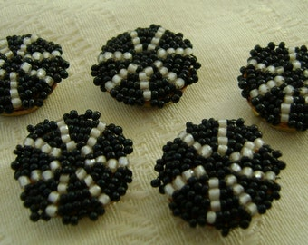 Set of 5 Hand Beaded Button Covers, Black & White