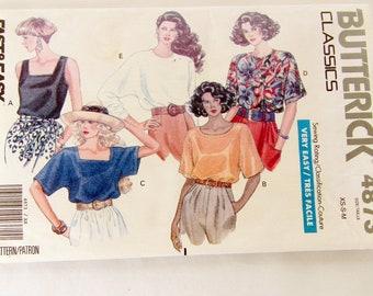 Butterick #4873 Copyright 1990, Ladies Blouses Sizes XS, S, and M, Uncut