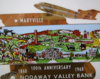 Vintage 1968 Commemorative 100 Year Anniversary Nodaway Valley Bank Porcelain Plate, Maryville, Missouri