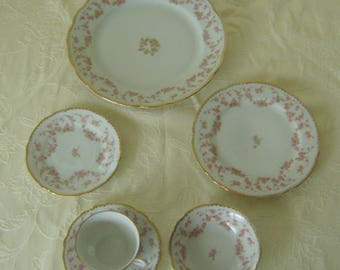 6 Piece Place Setting Bavarian China Bridal Rose Pattern