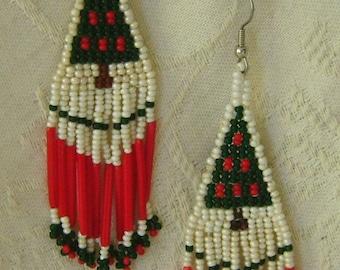 Hand Beaded Christmas Earrings White, Green, & Red