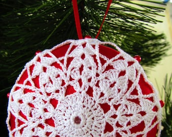 """Red Satin """"Saturn"""" Ball Adorned with Crocheted Motif, Pins"""