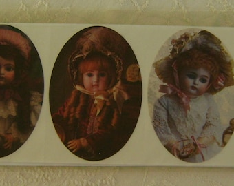 2 sheets of 5 Images Pressure Sensitive Stickers Brier Rose Collection Victorian Dolls