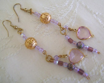 Hand Beaded Pierced Earrings French Hooks, Gold, Purple, White Dangles