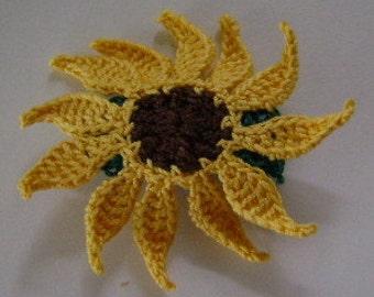Small Barrette 1 1/2 Inches Sunflower