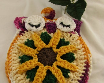 Crocheted Cute Owl Pot Holder Burgundy, Yellow 100% Cotton Yarn Double Thickness