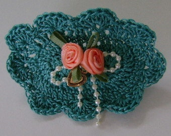 Green Barrette with Coral Ribbon Rose & Bead Bow