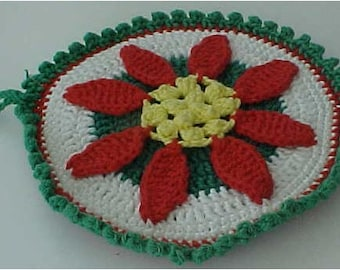 Crocheted Hot Mat Trivet Pot Holder Decorated with Red Poinsettia 100% Cotton Double Thickness