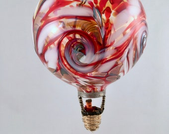 "4.25"" Blown Glass Hot Air Balloon Ornament– Red, White & Gold (Niner's Mix)"