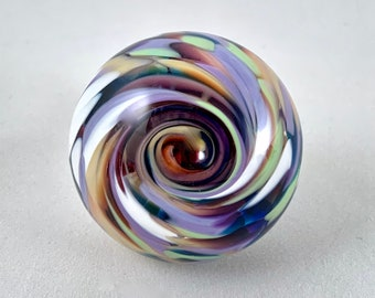 Solid Glass Cabinet Knob w/Nickel Silver Fitting– Monet Mix