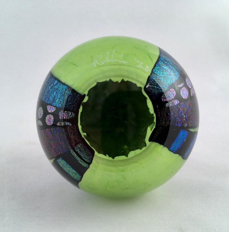 Dichroic Glass Ring Holder Paperweight\u2013 Small Apple Green wPatterns