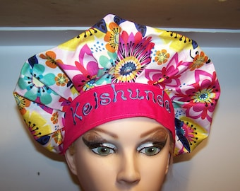 Personalized Bouffant Surgical Scrub Hat - adjustable