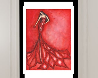 Large original watercolor figure painting 22x30 inches private collection fashion art deco style glamour art, signed by artist SoniaStella