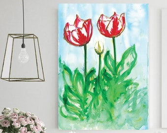 Tulip Floral Abstract Watercolor Painting Print from original, by Designer SoniaStella, Colorful Tulip Flowers Art on Canvas or Giclée