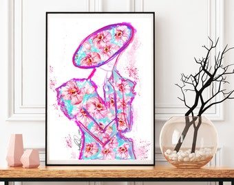 Girl with Orchids,  Print from Original Mix Media Fashion Illustration, Orchid Fashion Abstract Floral Art Wall Decor