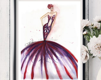 Original watercolor fashion illustration painting art deco style by artist SoniaStella, Abstract design artwork signed size 18x24 inches