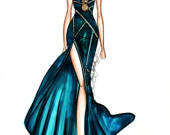 Versace Couture Fashion Illustration Limited Edition signed dated