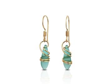 Boho Aquamarine Earrings, Gold-filled Blue Dangle Earrings, Gifts for Women, Handmade Gold filled Jewelry