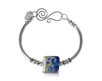 Boho Beach Bangle, Silver Wave Blue Bracelet, Sea Glass Jewelry, Mermaid Jewelry, Gift for Her