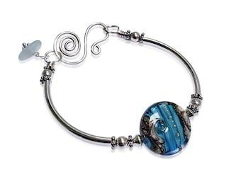 Boho Beach Bracelet, Blue Silver Bangle, Sea Glass Jewelry, Gift for Women