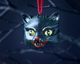Black Cat Halloween Ornament, Spooky Christmas Ornament, Fall Decorations
