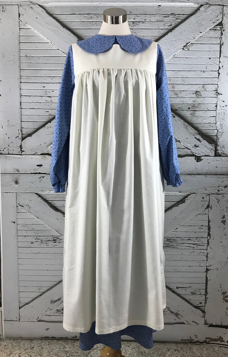 1920s Outfit Ideas: 10 Downton Abbey Inspired Costumes Custom Ladies Annes Dress and Pinafore Set in Cotton or Polycotton Fabrics $155.00 AT vintagedancer.com