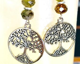 Tree Earrings, Tree of Life Earrings, Silver Tree Earrings, Tree of Life Charm Earrings, Silver Tree of Life Earrings, Symbolic Earrings