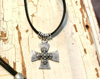 Silver Cross Necklace, Cross Pendant Necklace, Viking Age Cross, Symbolic Jewelry. Sterling Silver Cross Necklace, Vegan Jewelry