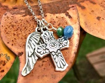 Mexican Talavera Cross, Talavera Cross Necklace, Christian Jewelry, Religious, Hispanic Cross jewelry, Wing Cross Necklace, Angel Wing