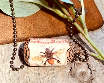 Rolled Paper Bead Jewelry, Paper Bead Necklace, Rustic Word Bead Necklace, BEE Jewelry, Rolled Paper Word Bead, Paper Bead Jewelry