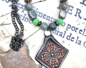 Brass Flower Pendant Bead Necklace, Brass Flower Pendant Bead Necklace, Soldered Brass Flower Pendant, Flower Pendant Necklace