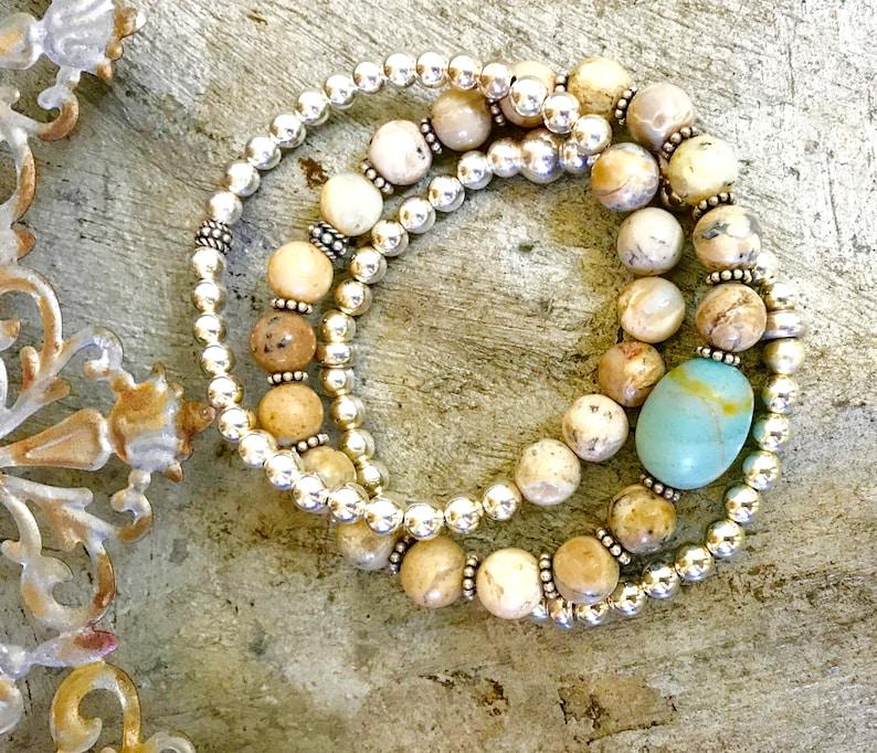 Sterling Beaded Bracelet Stack Boho Stack African Opal image 0