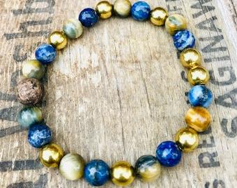 Blue Brass Bead Bracelet, Brass and Blue Bracelet, Fall Inspired Bracelet, Lapis Brass Bracelet, Mens Bracelet, Unisex Bracelet