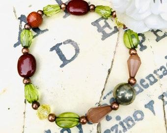 Glass Bead Bracelet, Green Glass Metal Bead Bracelet, Mixed Glass Bead Bracelet, Copper and Glass Bead Bracelet, Sparkly Glass Bracelet,