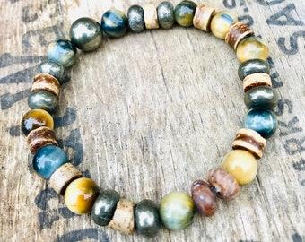 Tigers Eye Gemstone Bracelet, Fall Inspired Bead Bracelet, Pyrite Bracelets, Mens Bracelet, Unisex Bracelet, Guys Bracelet, Coconut Beads