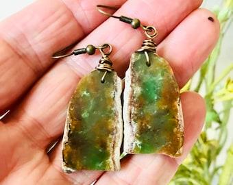 Natural Chrysoprase Slab Earrings, Natural Drilled Chrysoprase Earrings, Chrysoprase Stone Slice Earrings, Green Brown Chrysoprase Earrings