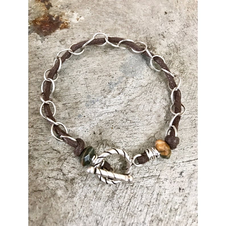 FAUX Leather Silver Chain Bracelet Woven Sterling Silver image 0