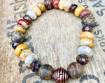 Earthy Bead Bracelet, Copper Bracelet, Fall Inspired Bead Bracelet, Bronzite Bead Bracelet, Mens Bracelet, Unisex Bracelet, Guys Bracelet,