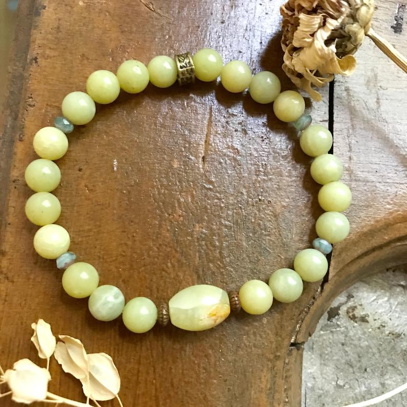 Wrist Mala Olivine Jade Beaded Bracelet Flower Jade Mala image 0