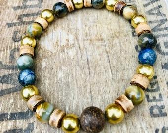 Multi Gemstone Bracelet, Fall Inspired Bead Bracelet, Wood and Brass Beaded Bracelets, Mens Bracelet, Unisex Bracelet, Guys Bracelet