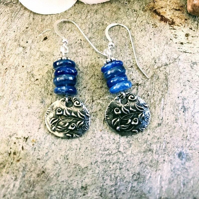 Blue Kyanite Beaded Earrings Blue Kyanite Dangle Earrings image 0