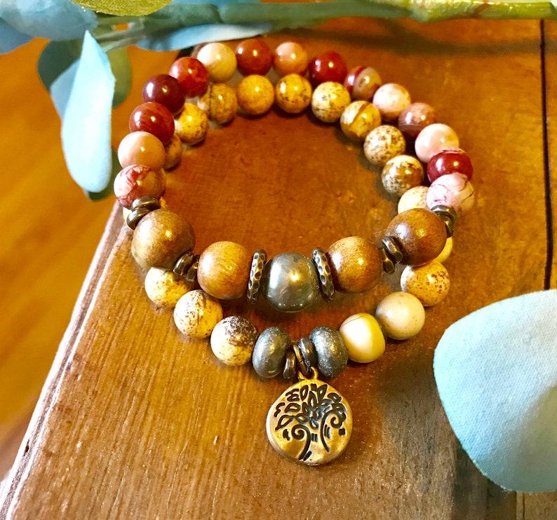 Gemstone Beaded Bracelet Stack Jasper Beaded Bracelet stack image 0