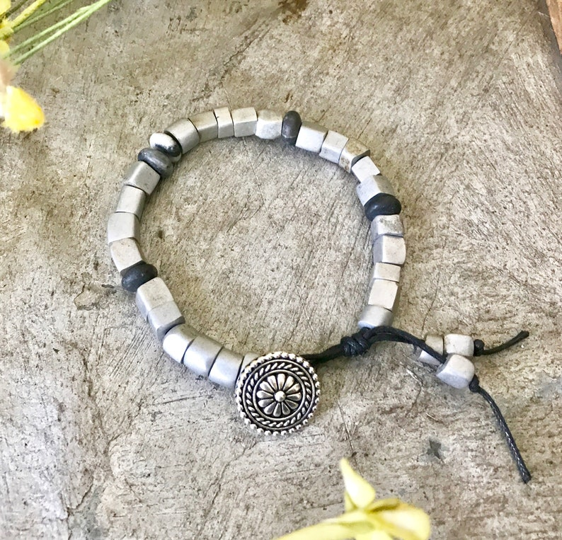Boho Style bracelet Button Loop Bracelet Aluminum beaded image 0