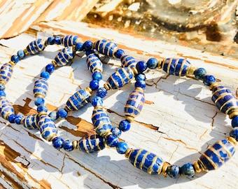 Lapis Lazuli Bead Bracelet, Lapis and Gold Bead Bracelet, Tibetan Lapis Bead Bracelet, Lapis Lazuli Bracelet, Blue Bead Bracelet, Blue Brass