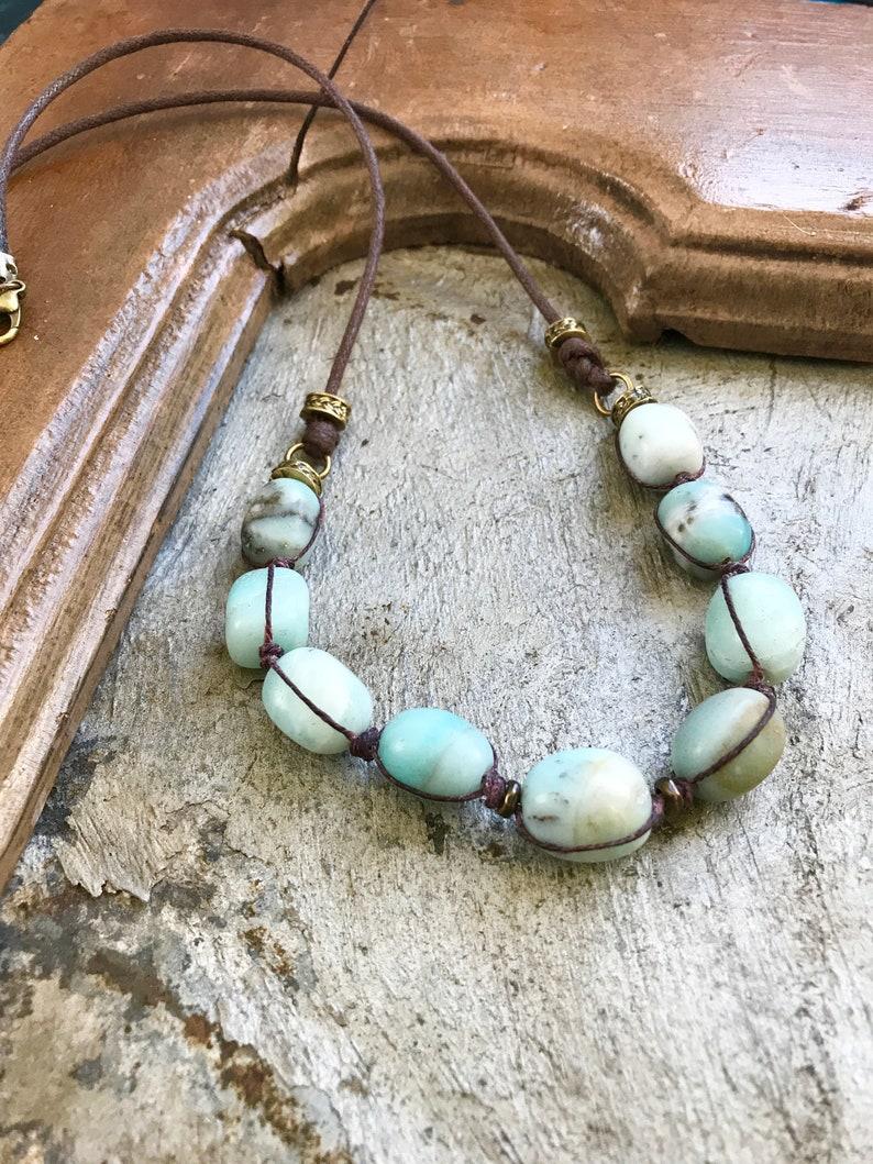 Amazonite Beaded Necklace Chunky Amazonite Bead Necklace image 0