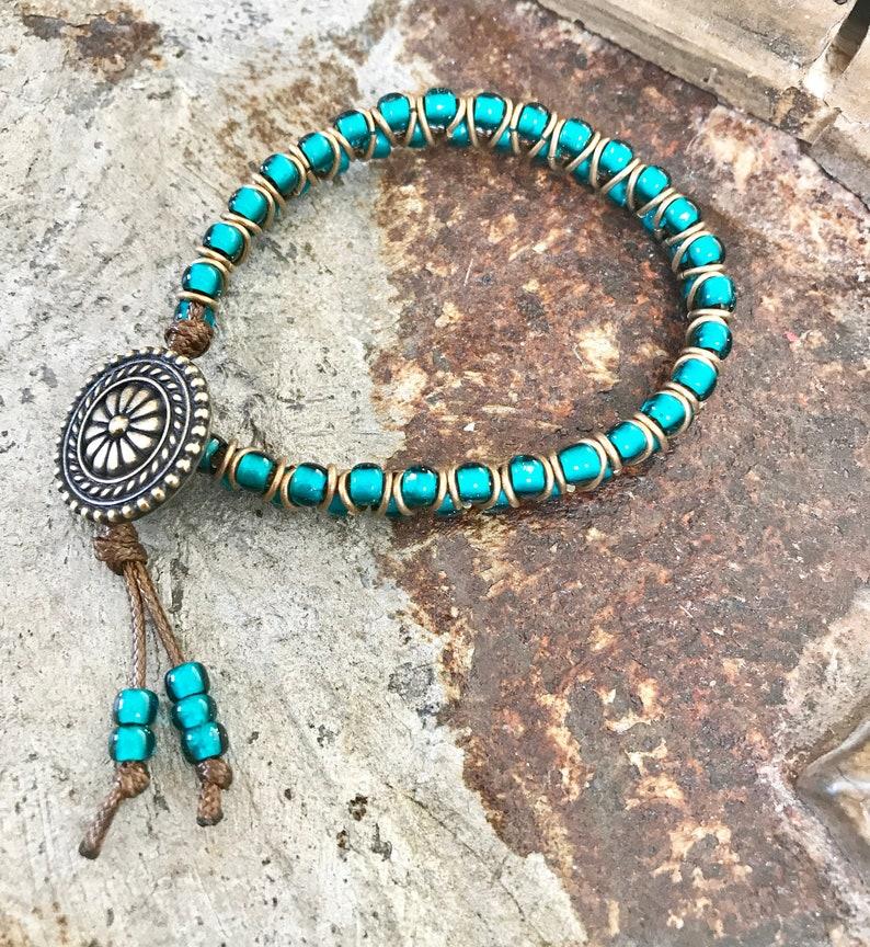Teal Blue Beaded Wrap Bracelet Seed Bead Wrap Bracelet image 0