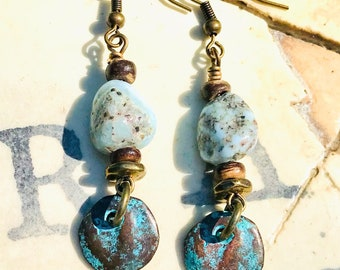 Blue Larimar Dangle Earrings, Larimar Earrings, Boho jewelry, Patina Charm Earrings, Larimar Dangle Earring, Boho Style Earrings
