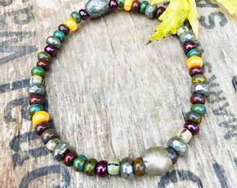 Rainbow Glass Bead Bracelet, Colorful Apocalypso Picasso Seed Bead Bracelet, Glass Seed Bead Stretch Bracelet, Pyrite Bead Bracelet